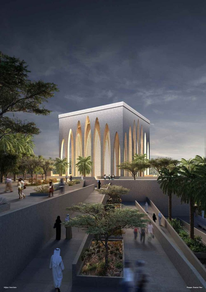 The Abrahamic Family House. The Mosque exterior - Courtesy of Adjaye Associates