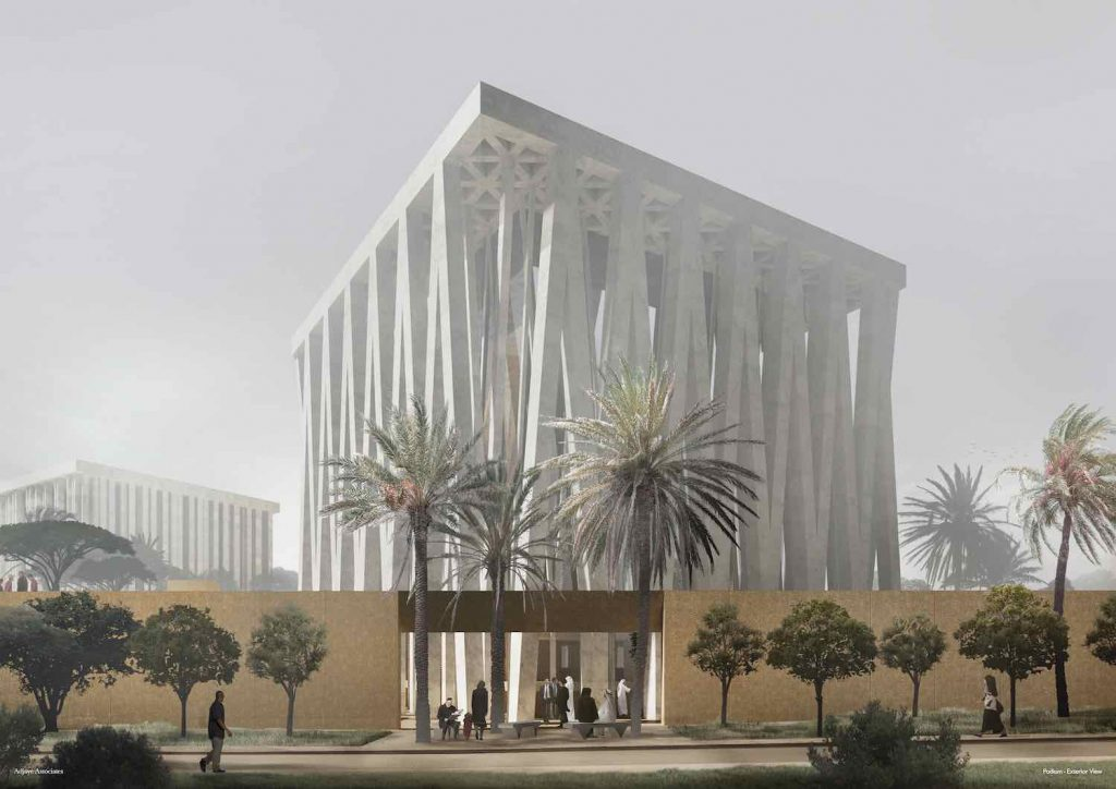 The Abrahamic Family House. Podium Exterior + Synagogue - Courtesy of Adjaye Associates