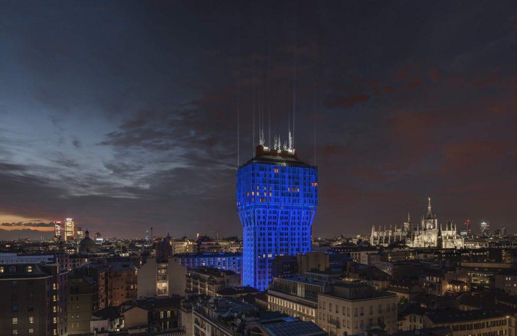 Ingo Maurer + Team, Torre Velasca Blu, 2019 - Photo by Tom Vack