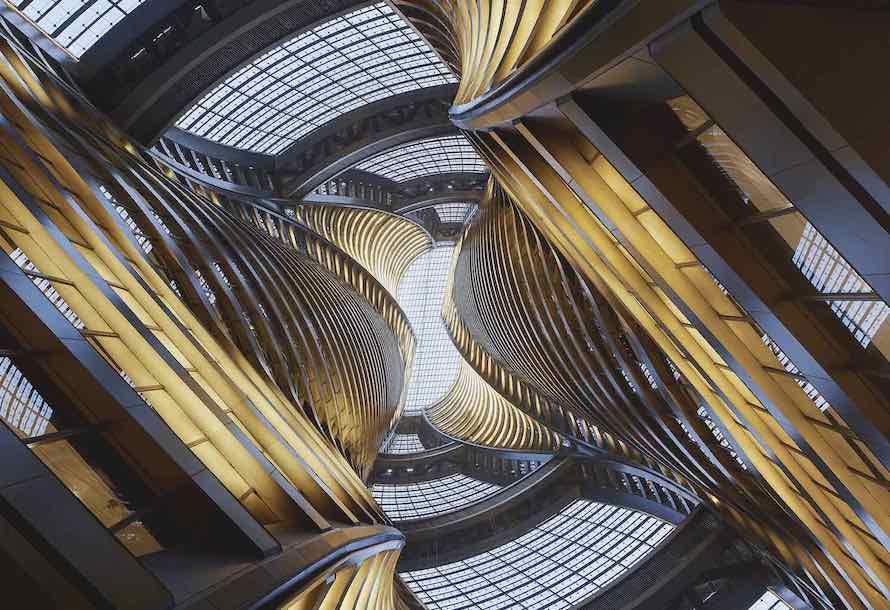 Zaha Hadid's spiraling atrium