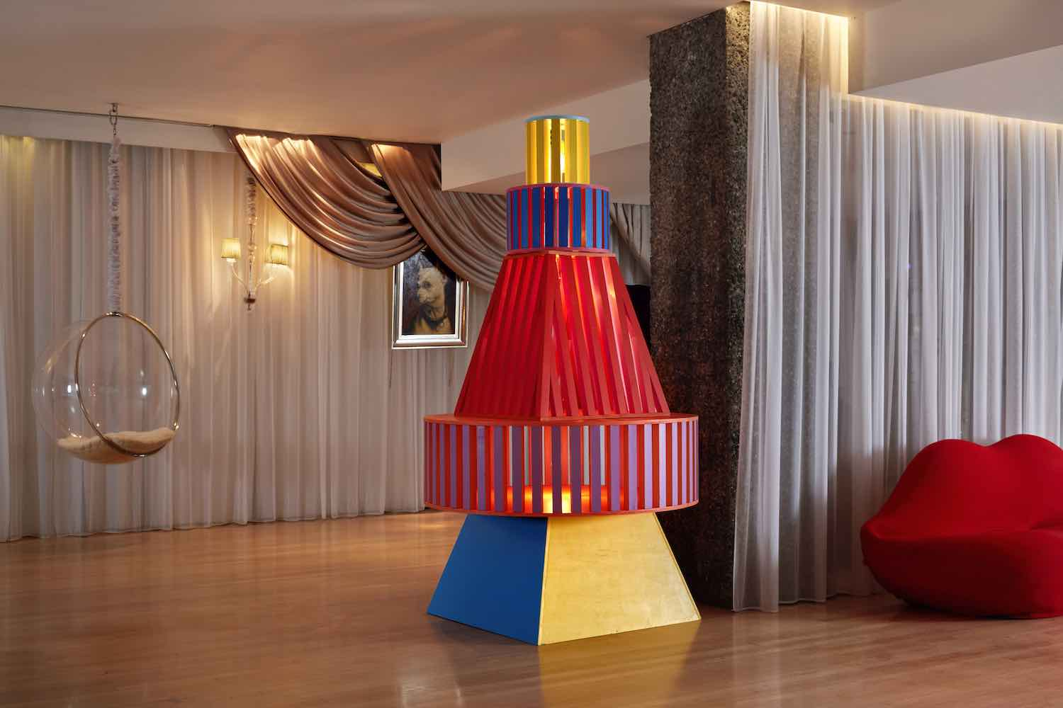 Colourful Christmas Tree by Yinka Ilori for Sanderson London Hotel - Photo by Milo Brown