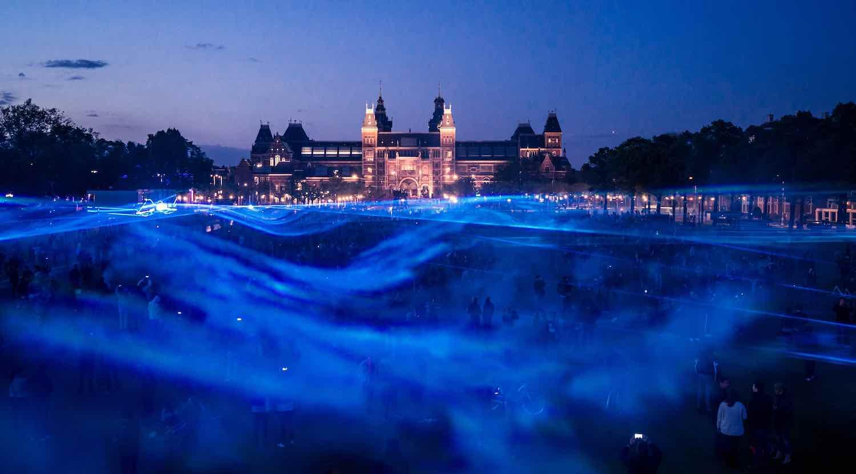 WATERLICHT in Amsterdam - Courtesy of Daan Roosegarde.