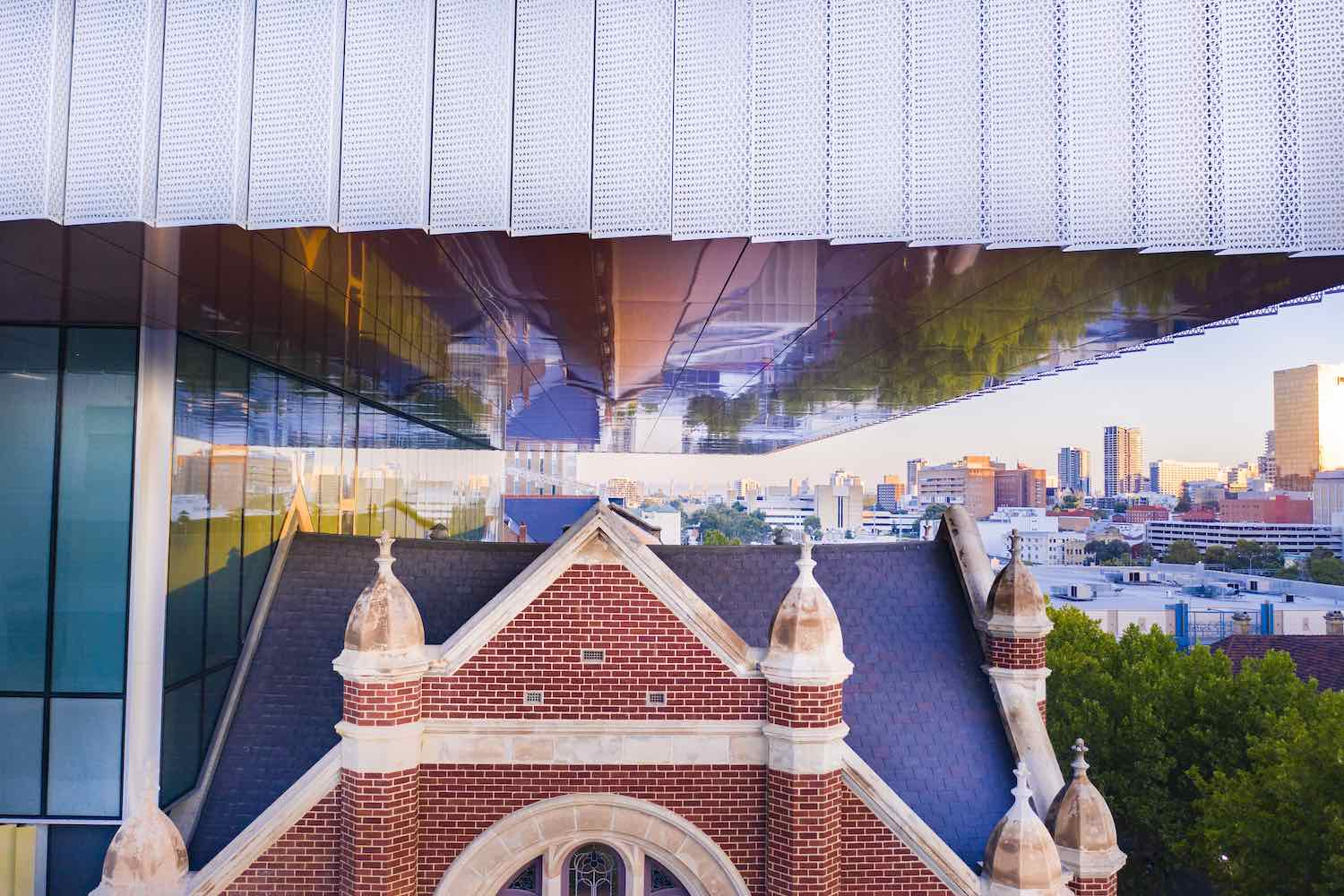 New Museum for Western Australian Museum. Hackett Hall and cenitlever - Photo by Michael Haluwana, Aeroture.