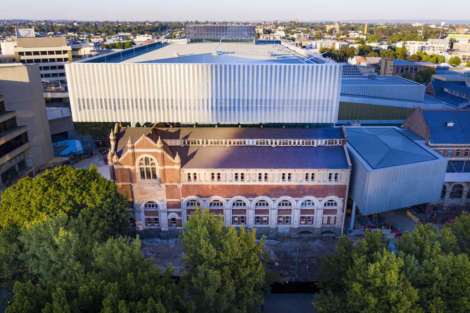 New Museum for Western Australian Museum. Hackett Hall and canitlever - Photo by Michael Haluwana, Aeroture.