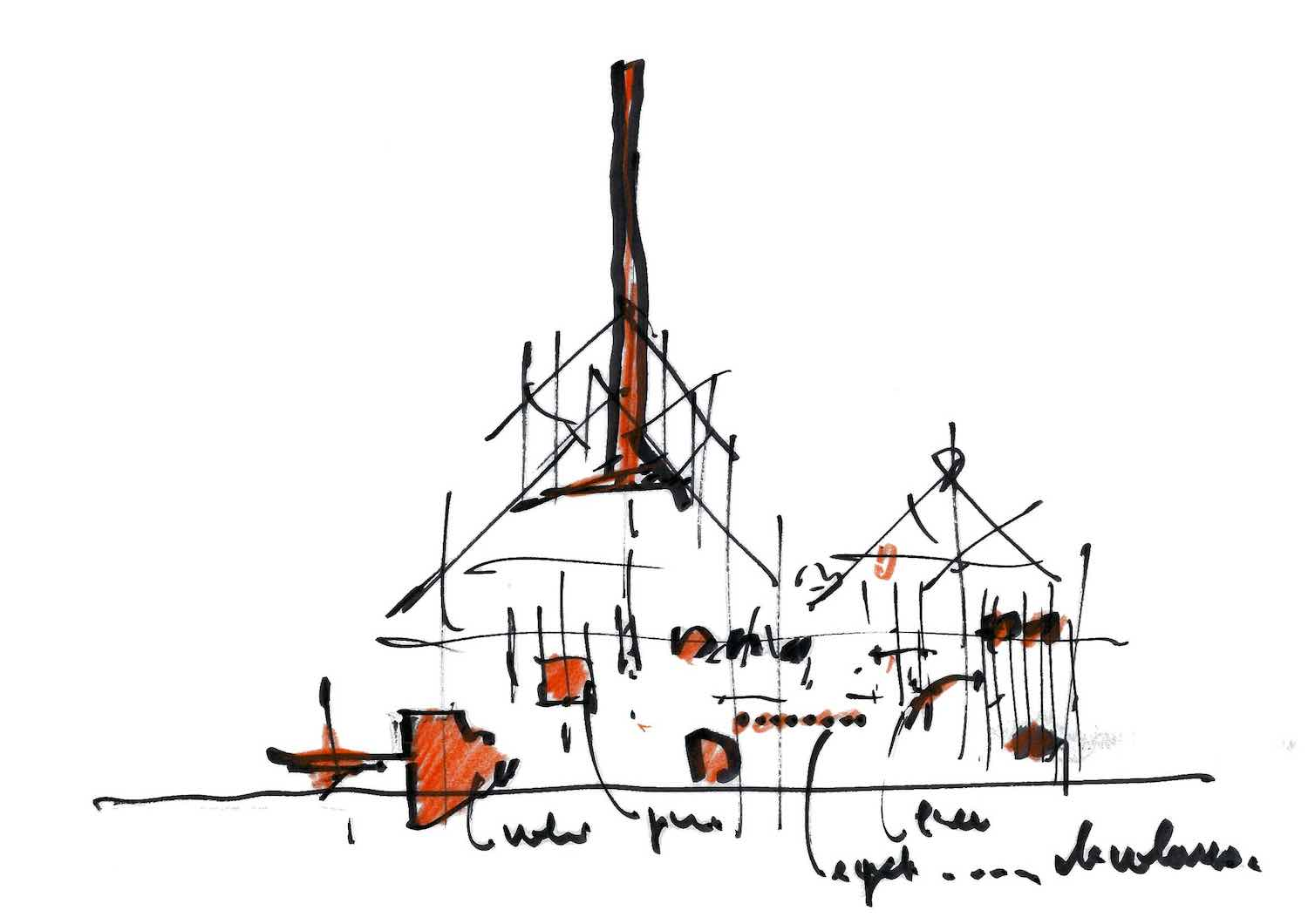 GES-2 sketch by Renzo Piano Building Workshop - Courtesy of V-A-C- Foundation
