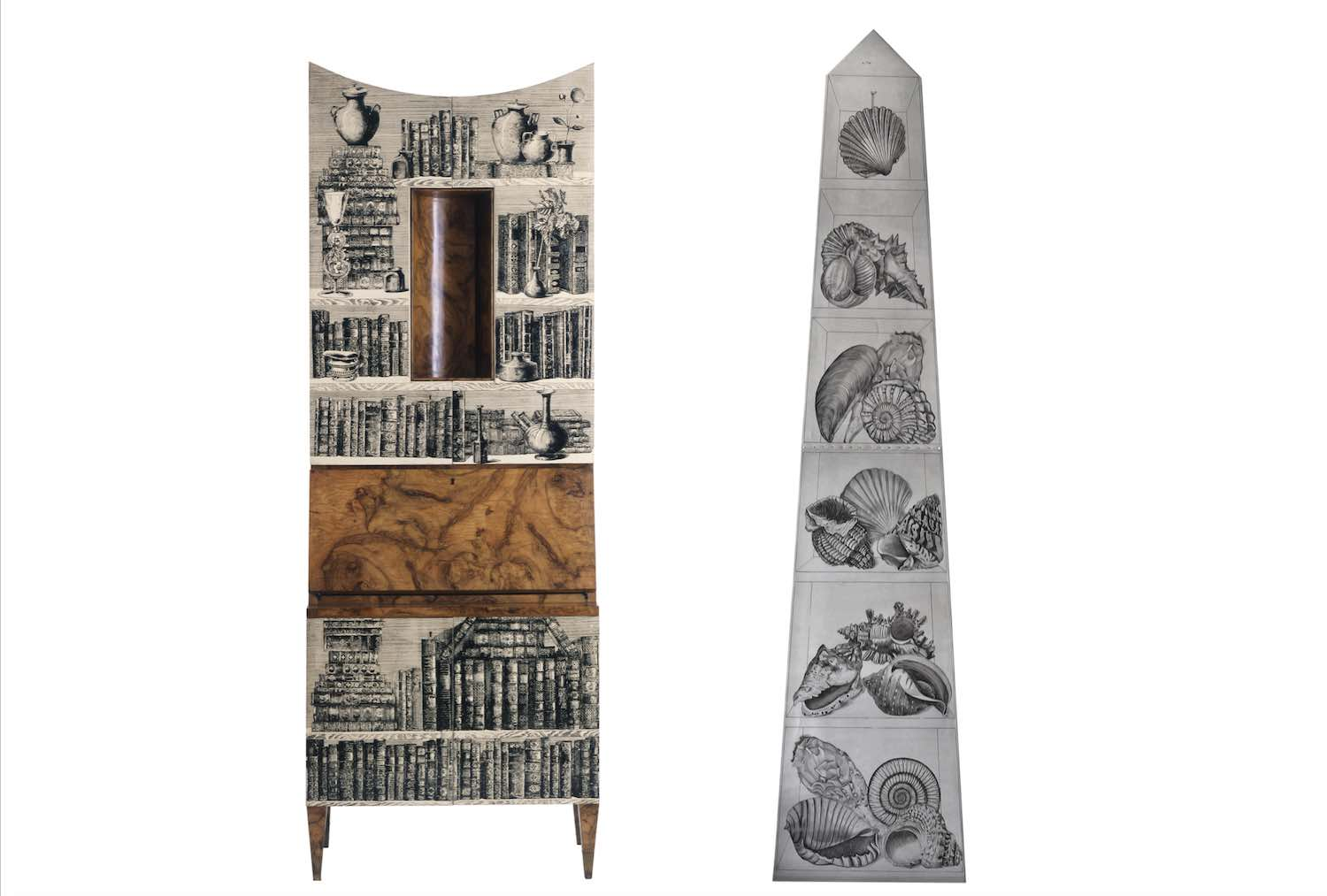 Trumò libri and Litomatrice obelisk and wall lamp - Courtesy of Fornasetti.