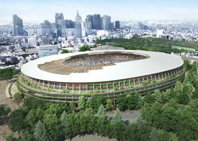 Tokyo Olympics 2020 has been postponed to 2021 - Kengo Kuma's Stadium in Tokyo. Japan.