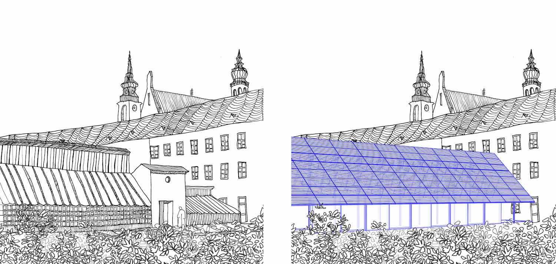 Mendel greenhouse - Drawing by Chybik Kristof.