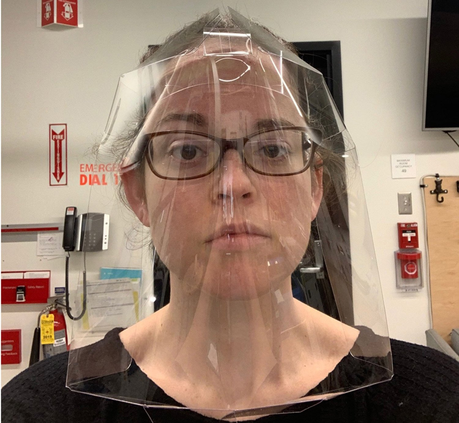 MIT'S disposable single piece face shields design - Photo by Project Manus, courtesy of MIT.