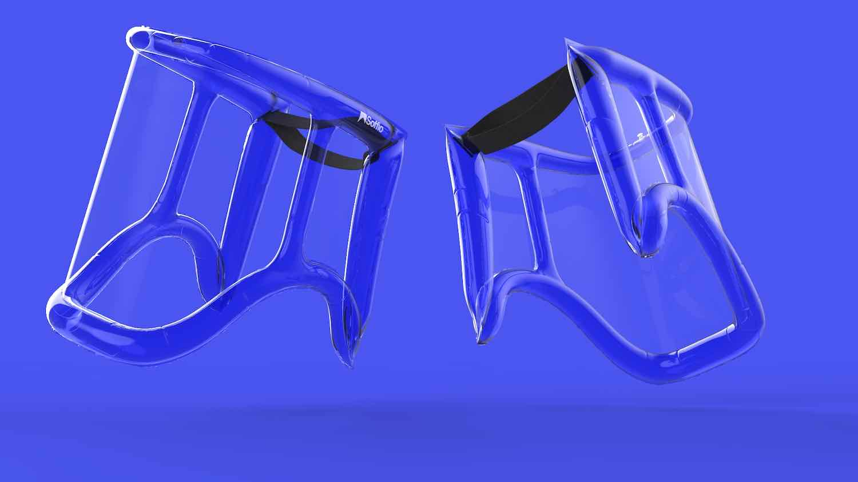 SOFFIO inflatable face shield - Courtesy of MARGstudio.