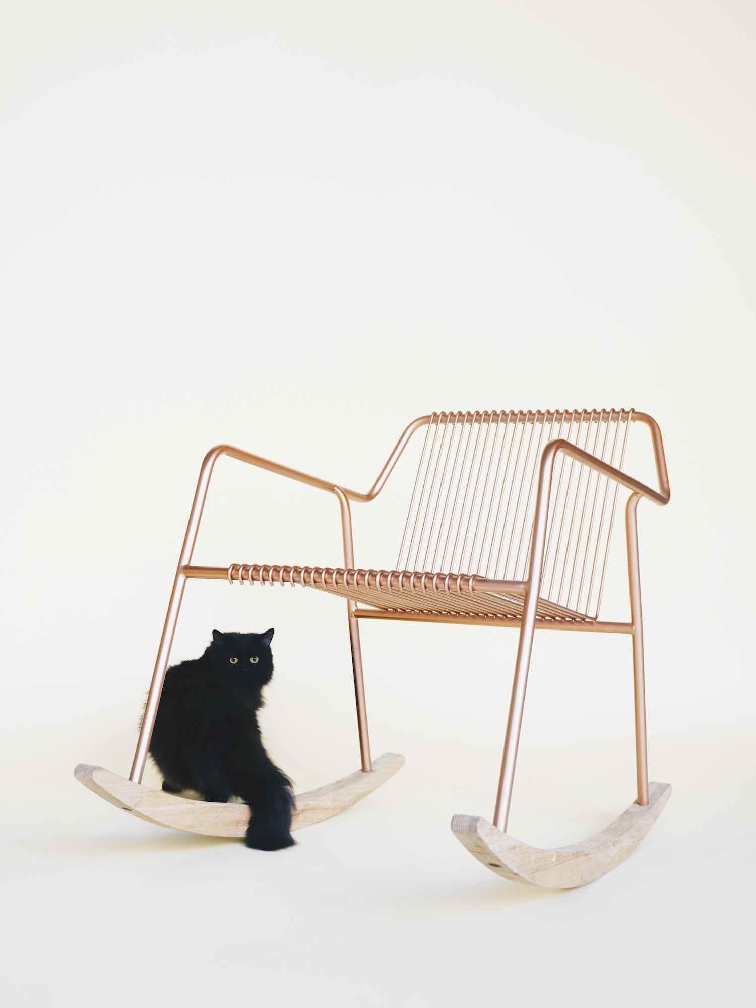 HERE AND THERE - A PALESTINIAN COLLECTION. 'Mike' rocking chair by LOCAL INDUSTRIES - Courtesy of ADORNO.