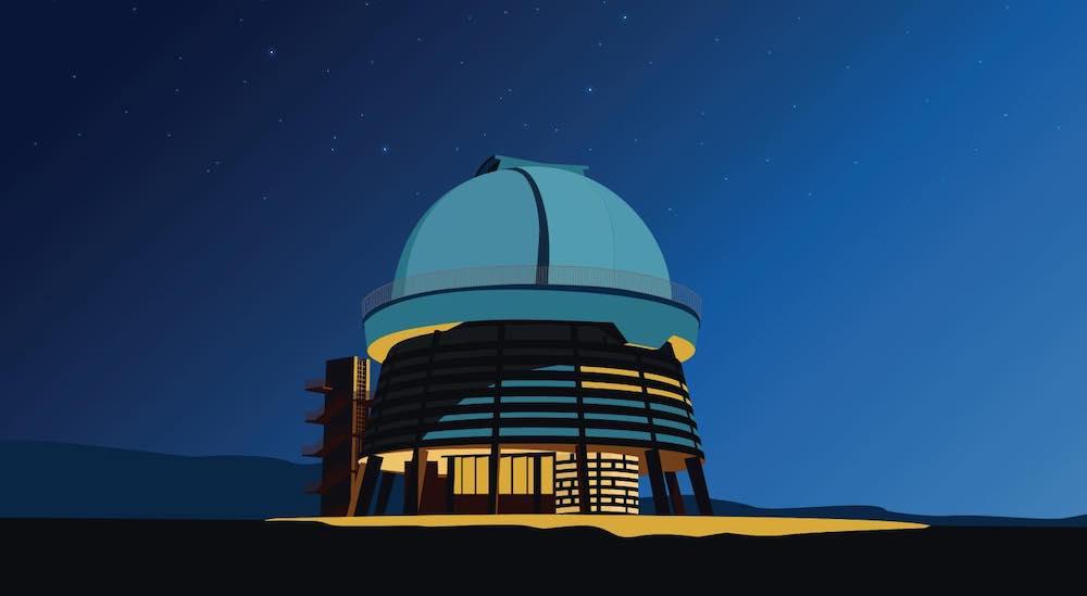 Armenian Soviet Architecture - Byurakan Observatory after Victor Hambardzumyan by S. Gurzadyan, 1972 - Illustration by Nvard Yerkanian