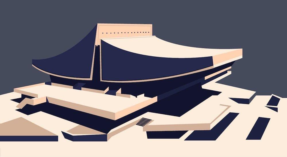 Armenian Soviet Architecture - Cinema Rossiya in Yerevan by Spartak Khachikyan, Hrachik Poghosyan, Artur Tarkhanyan, Yerevan, 1975 - Illustration by Nvard Yerkanian