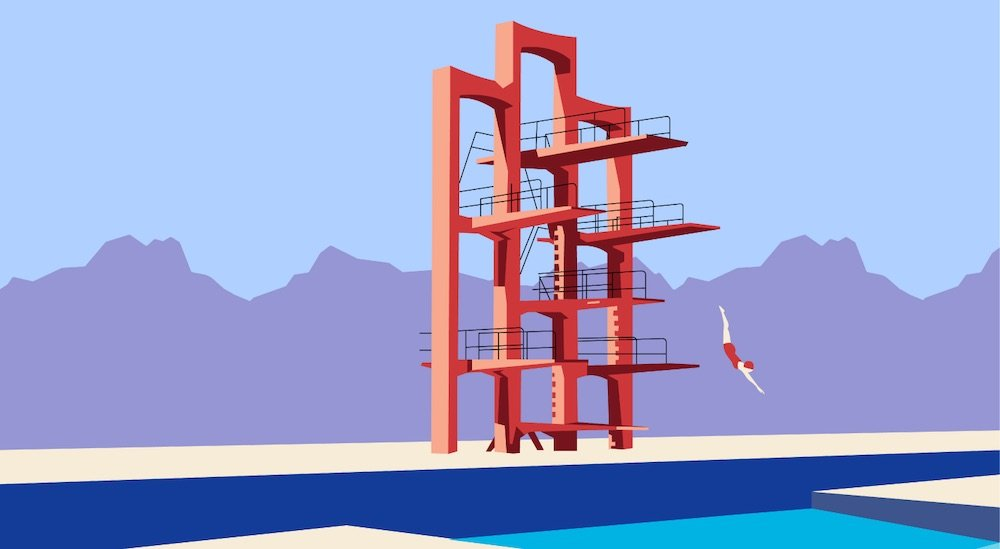 Armenian Soviet Architecture - Diving tower in Etchmiadzin by Felix Hakobyan, 1960s - Illustration by Nvard Yerkanian