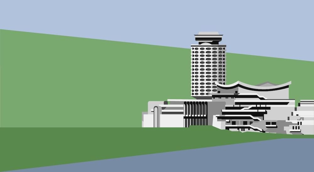 Armenian Soviet Architecture - Youth Palace in Yerevan by Tarkhanyan, Poghosyan, Khachikyan, Zakaryan, 1966-70, demolished in 2010 - Illustration by Nvard Yerkanian.