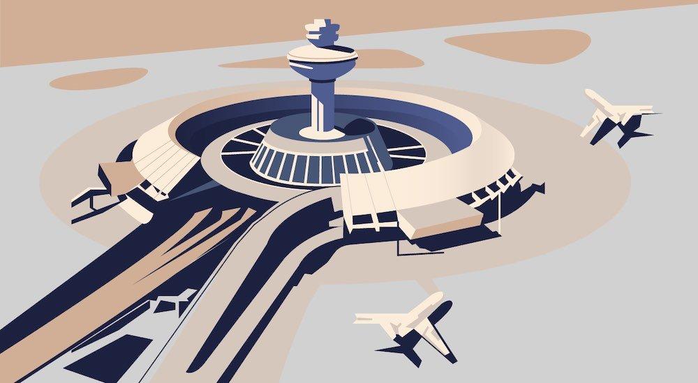 Armenian Soviet Architecture - Zvartnots Airport in Yerevan by M. Khachikyan, A. Tarkhanyan, S. Qalashyan, L. Cherkezyan, 1961 - Illustration by Nvard Yerkanian