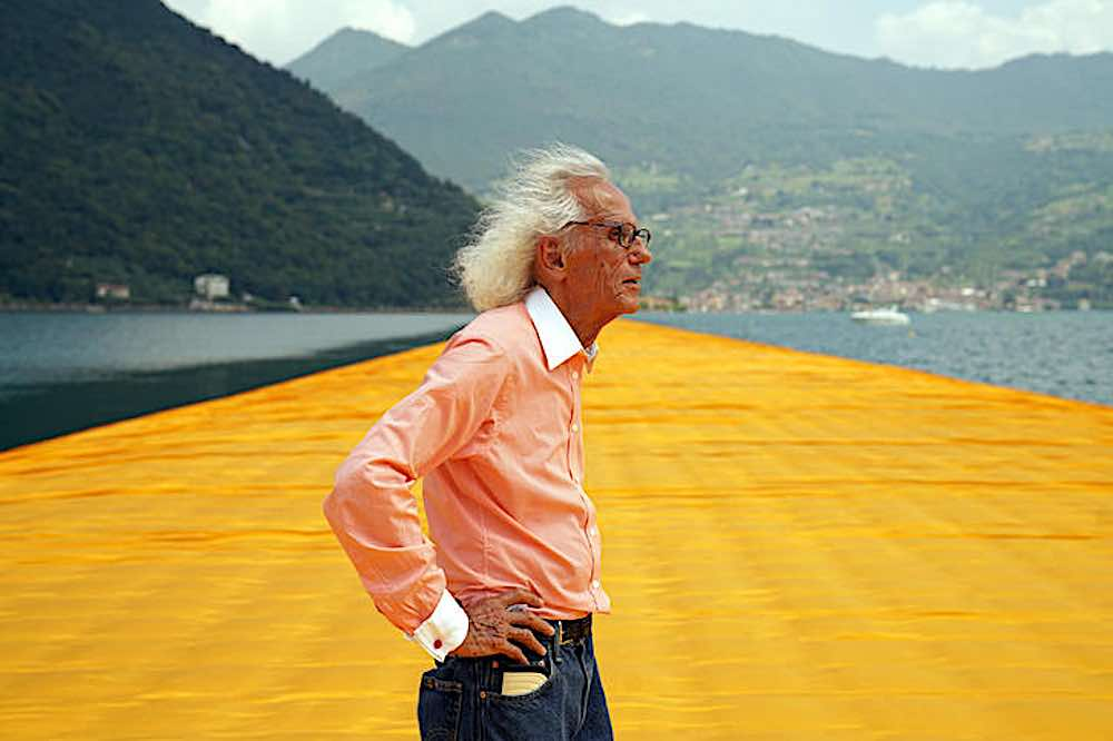 Christo on The Floating Pier, 2016 - Photo by Wolfgang Volz ©Christo
