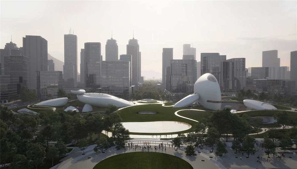 Shenzhen Bay Culture Park masterplan by MAD Architects - Image by PROLOOG, courtesy fo MAD Architects.