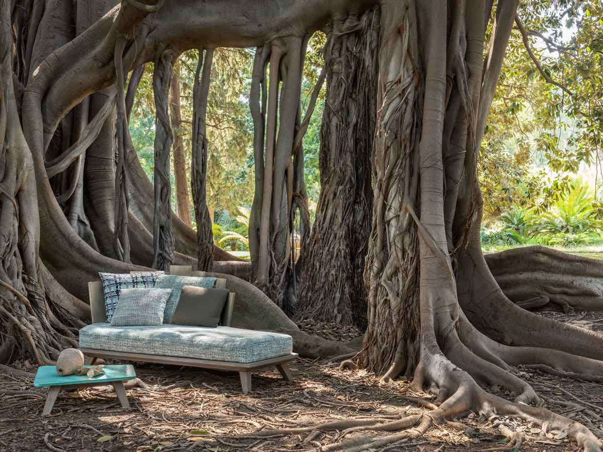 10 Italian outdoor furniture designs. RAFAEL lounge bed by Paola Navone x Ethimo - Photo by Bernard Touillon, courtesy of Ethimo.