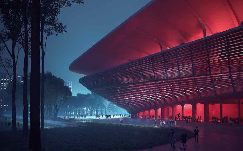 Zaha Hadid Architects's Xi'an International Football Centre - Image by Zaha Hadid Architects.