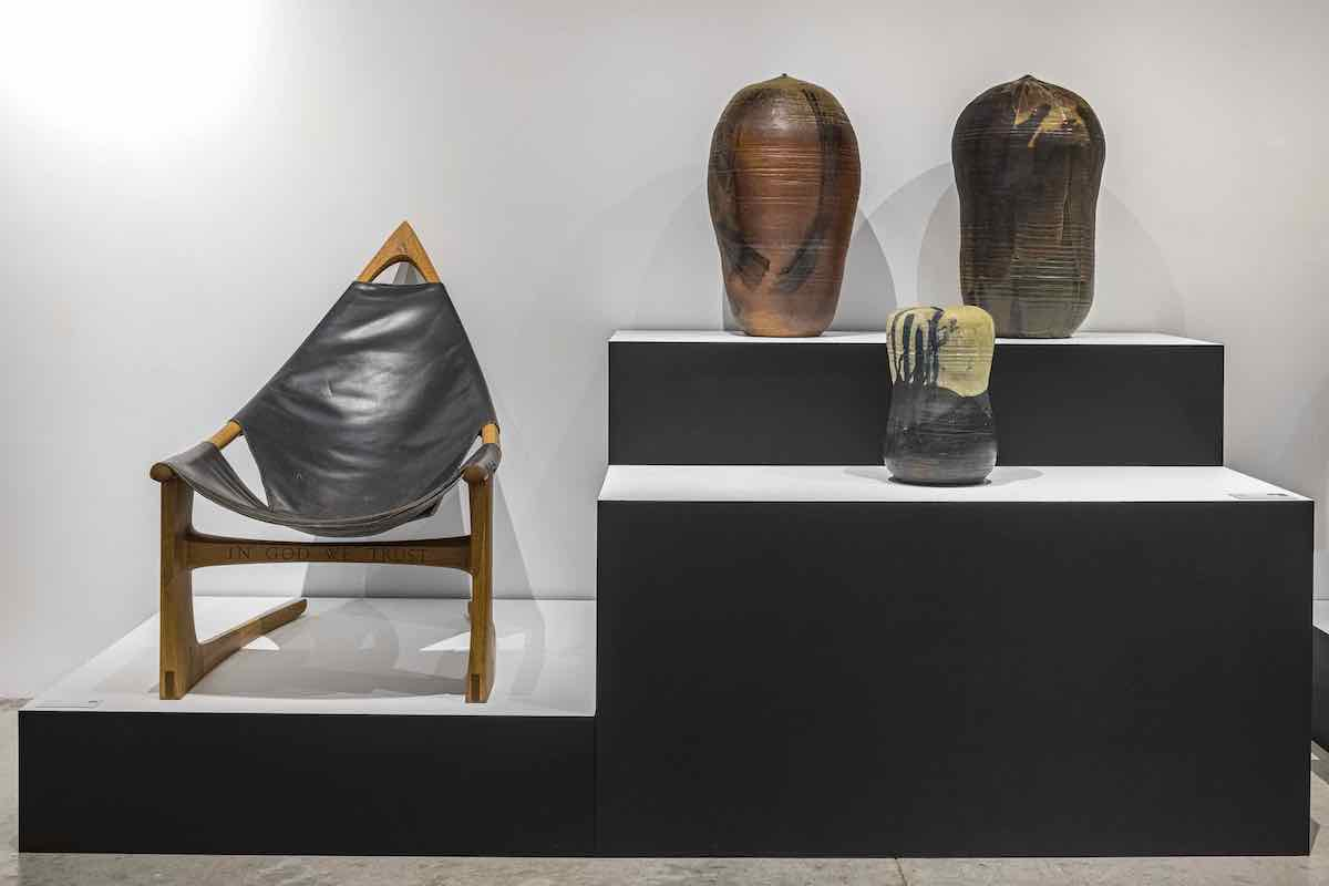 DesignMiami 2020. A chair by Wendell Castle, left, and a series of vessels from Chilean design collective Gt2P's Remolten collection @ DesignMiami Podium Photo by Kris Tamburello