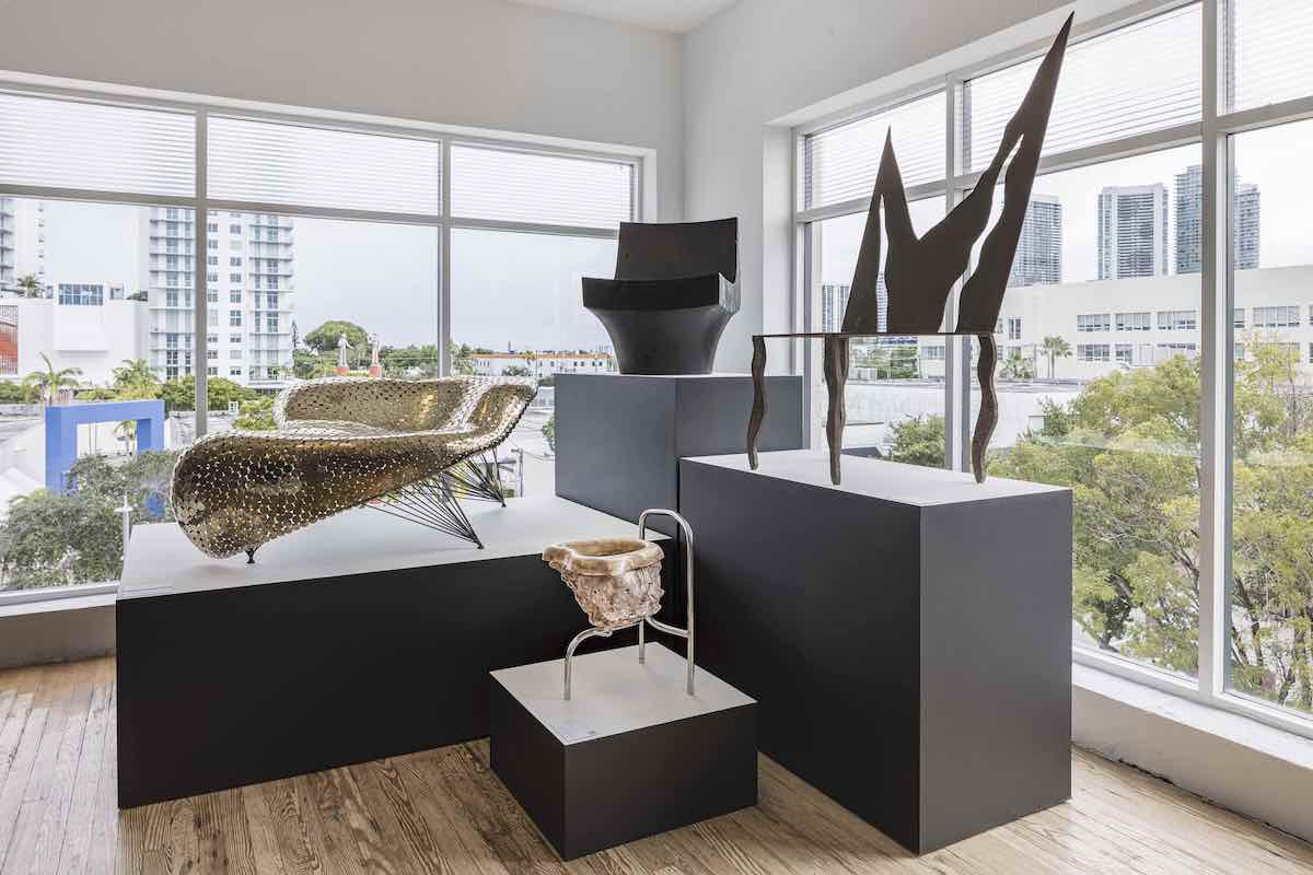 DesignMiami 2020. From left Manta Seat by Johnyy Swing, No2 seat by Chen Chen and Kai Williams, K chair by Reynolds Rodriquez and Flama chair by the Campana Brothers Photo by Kris Tamburello.