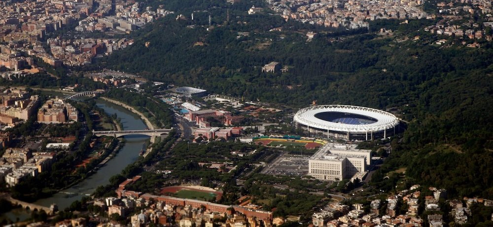 Stadio Olimpico by Enrico del Debbio e Annibale Vitalozzi in Rome, Italy - Photo by Doc Searls.