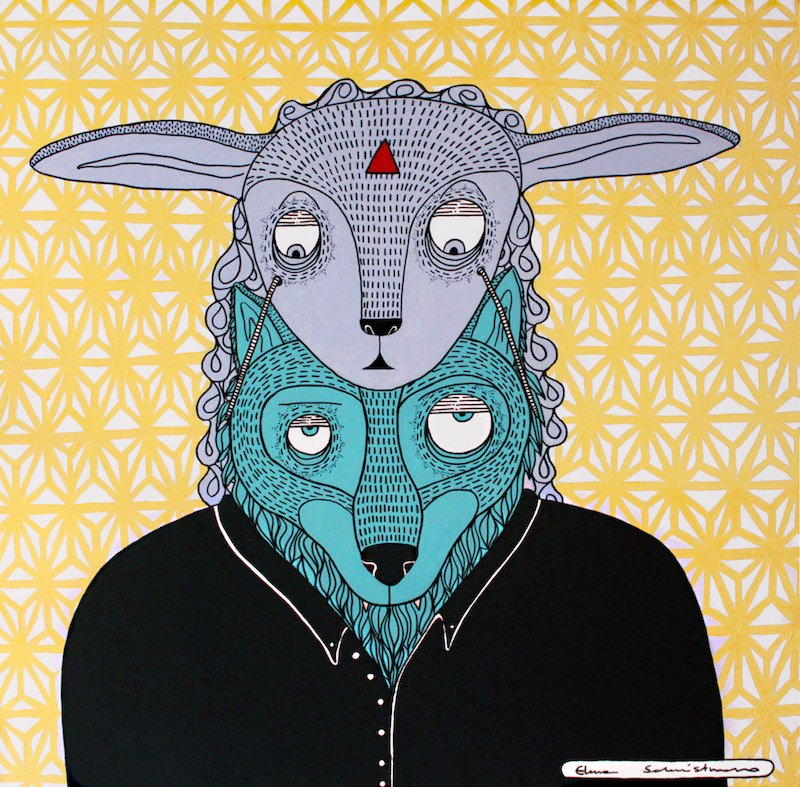 A WOLF IN DISGUISE, drawing by Elena Salmistraro.